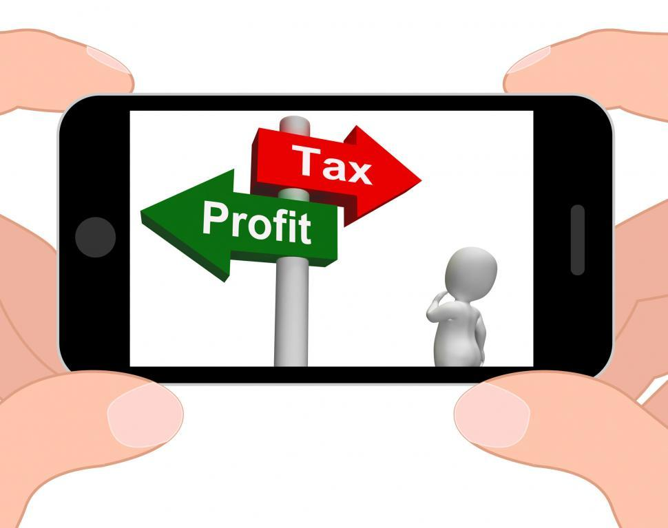 Download Free Stock HD Photo of Tax Or Profit Signpost Displays Account Taxation or Profits Online