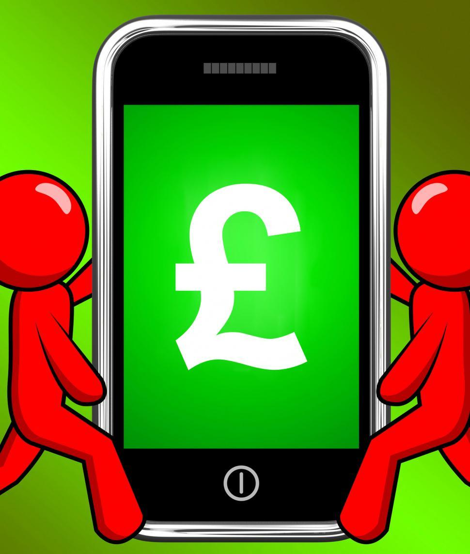 Download Free Stock Photo of Pound Sign On Phone Displays British Money Gbp