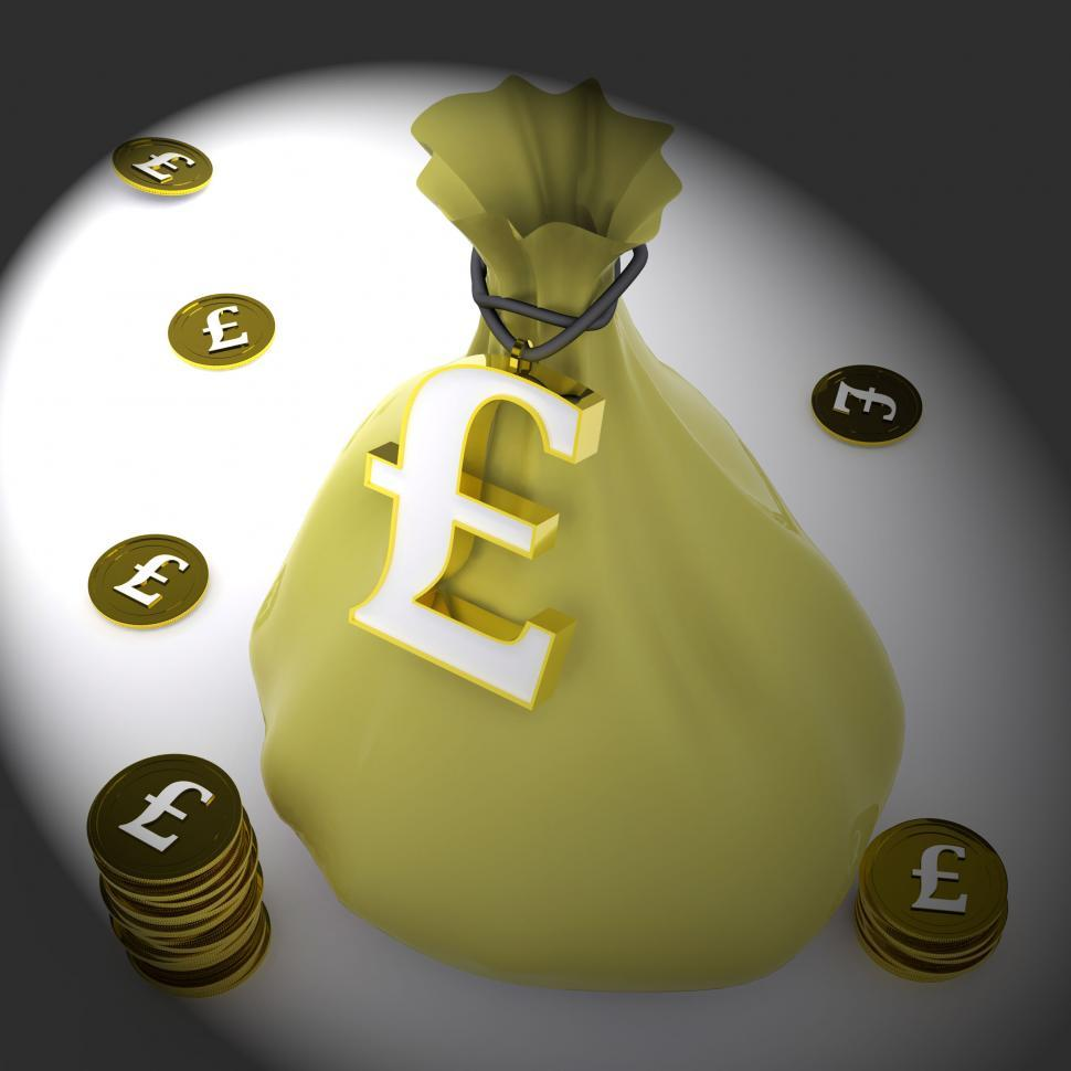 Download Free Stock Photo of Pound Bag Means British Wealth And Money