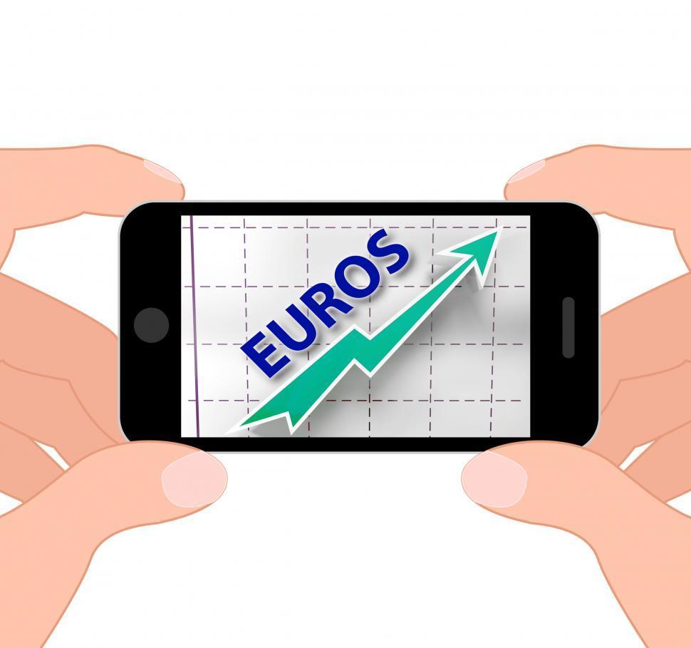 Download Free Stock Photo of Euros Graph Displays Growth Of European Economy