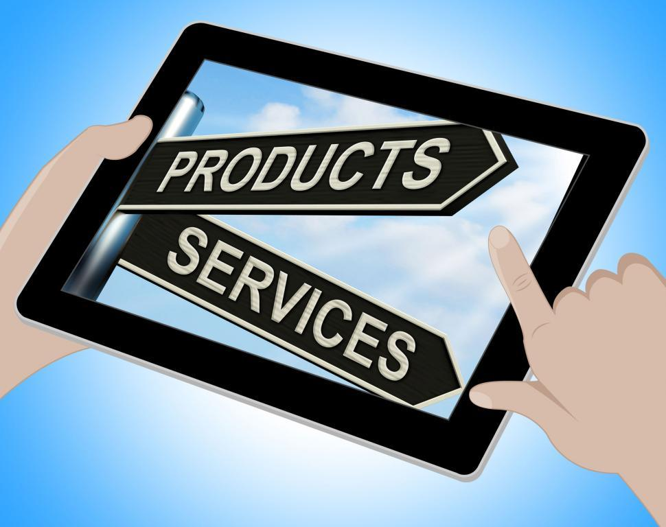 Download Free Stock HD Photo of Products Services Tablet Shows Business Merchandise And Service Online