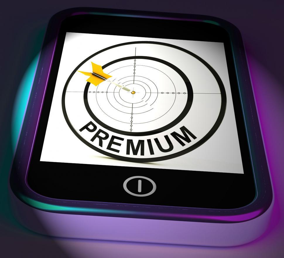 Download Free Stock Photo of Premium Smartphone Displays Excellent Goods Or Services On Inter