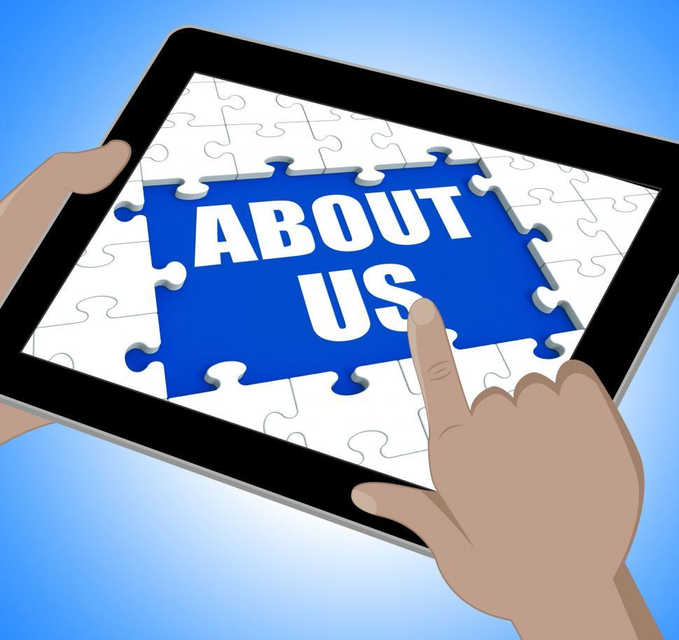 Download Free Stock Photo of About Us Tablet Shows Contact And Website Information