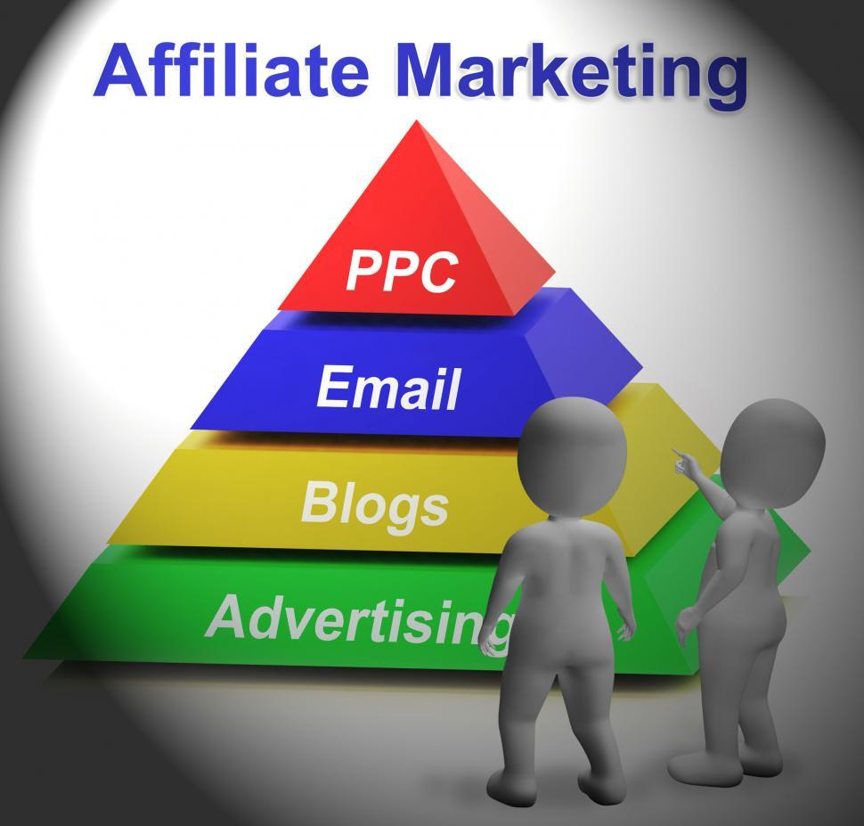 Download Free Stock HD Photo of Affiliate Marketing Symbol Means Internet Advertising And Public Online