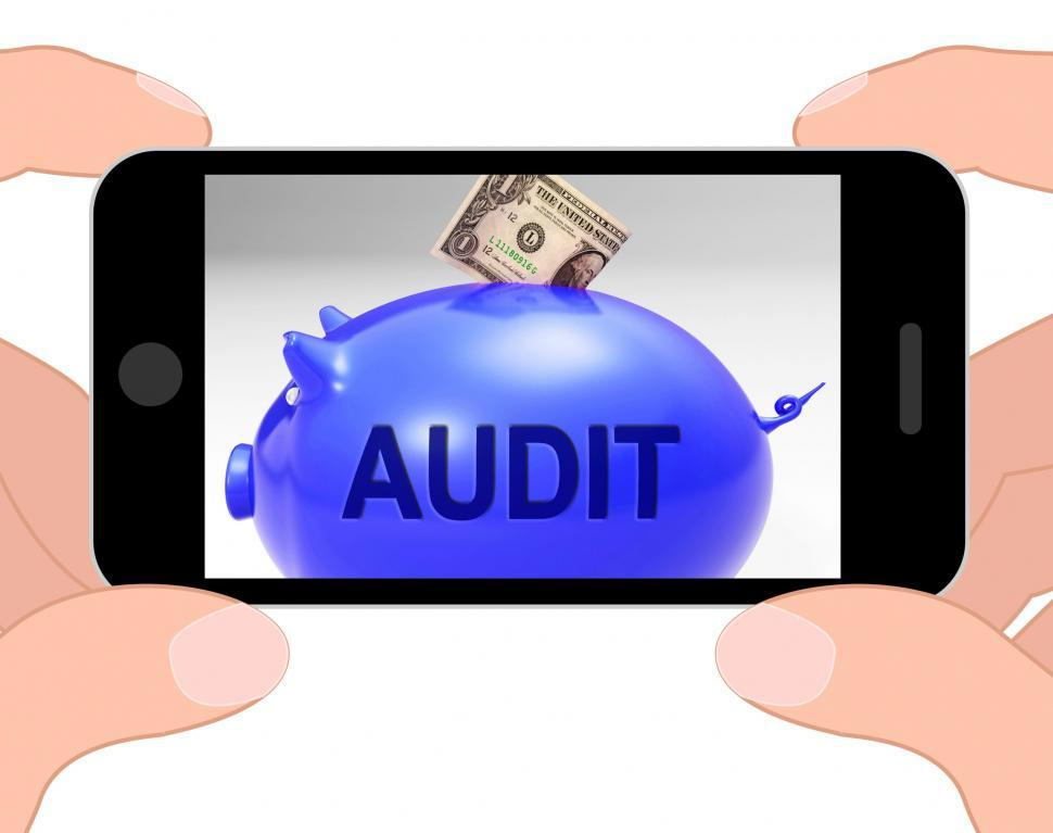 Download Free Stock Photo of Audit Piggy Bank Displays Auditing Inspecting And Finances