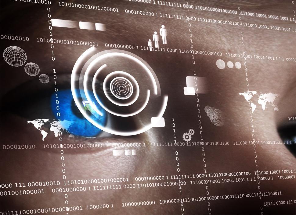 Download Free Stock HD Photo of Human eye viewing data on virtual screen - Biometrics concept Online