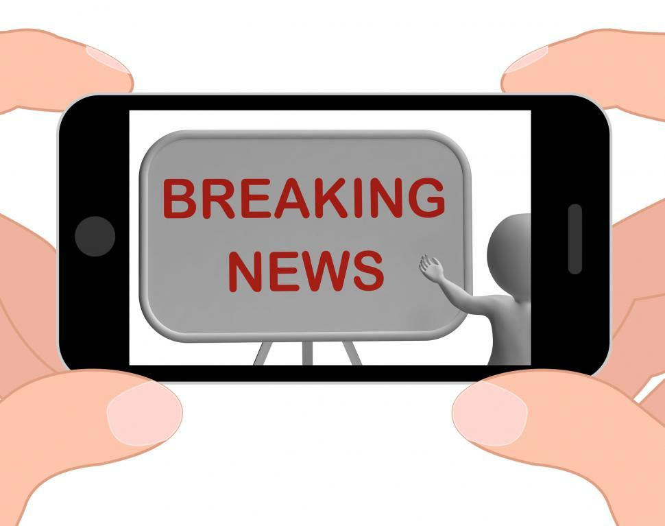 Download Free Stock Photo of Breaking News Phone Shows Major Developments And Bulletin