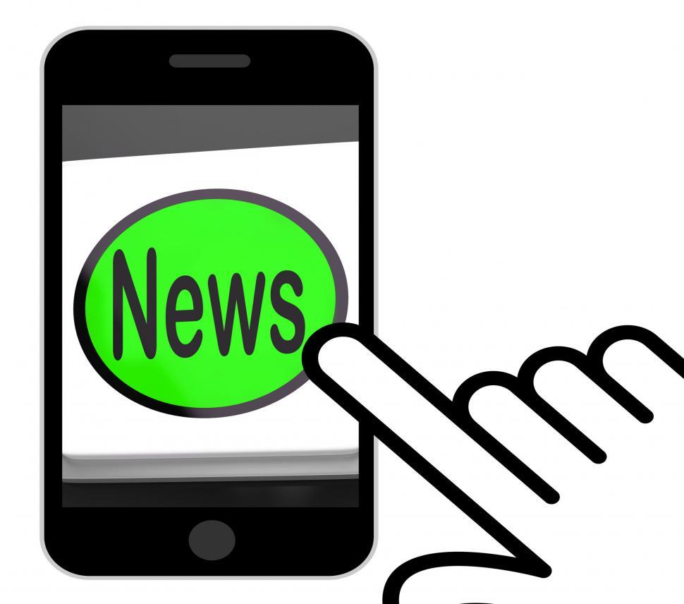 Download Free Stock Photo of News Button Displays Newsletter Broadcast Online