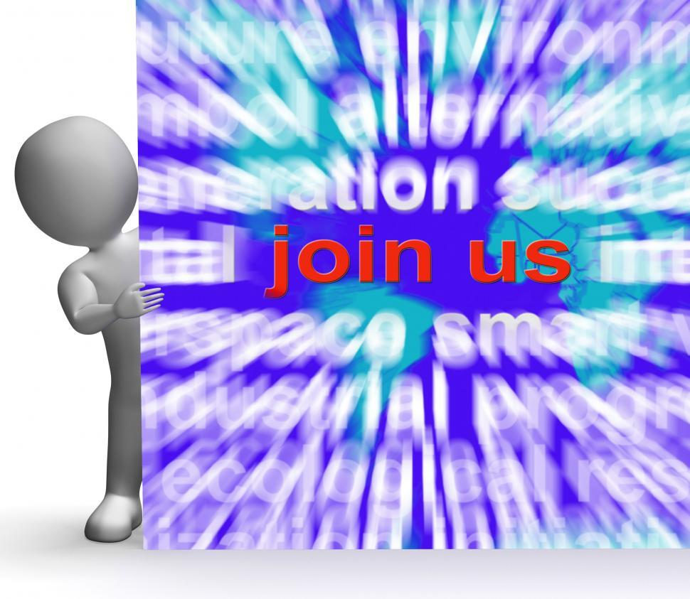 Download Free Stock HD Photo of Join Us Word Cloud Sign Shows Joining Membership Register Online