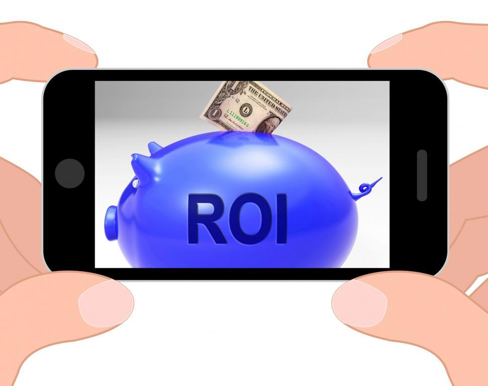 Download Free Stock Photo of ROI Piggy Bank Displays Investors Return And Income