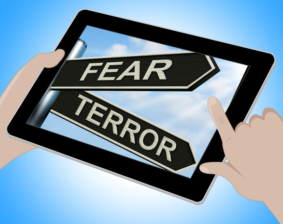 Download Free Stock HD Photo of Fear Terror Tablet Shows Frightened And Terrified Online