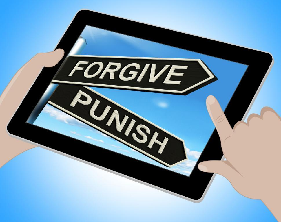 Download Free Stock Photo of Forgive Punish Tablet Means Forgiveness Or Punishment