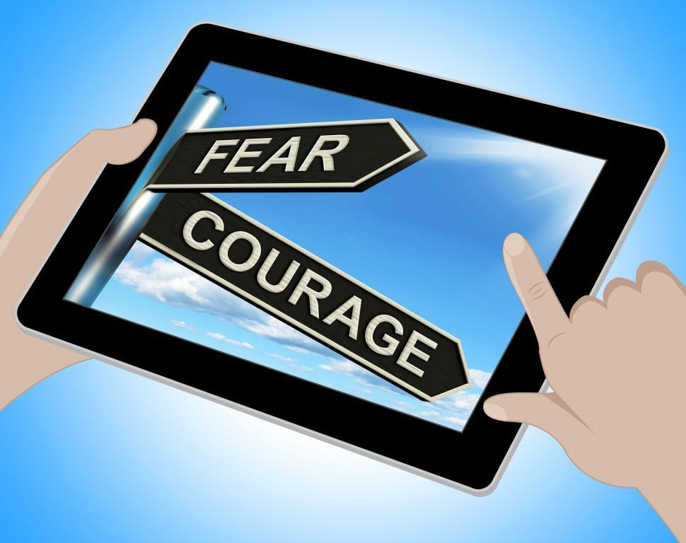 Download Free Stock Photo of Fear Courage Tablet Shows Scared Or Courageous
