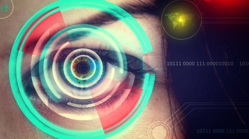 Download Free Stock HD Photo of Human eye being scanned on virtual screen - Biometrics concept Online