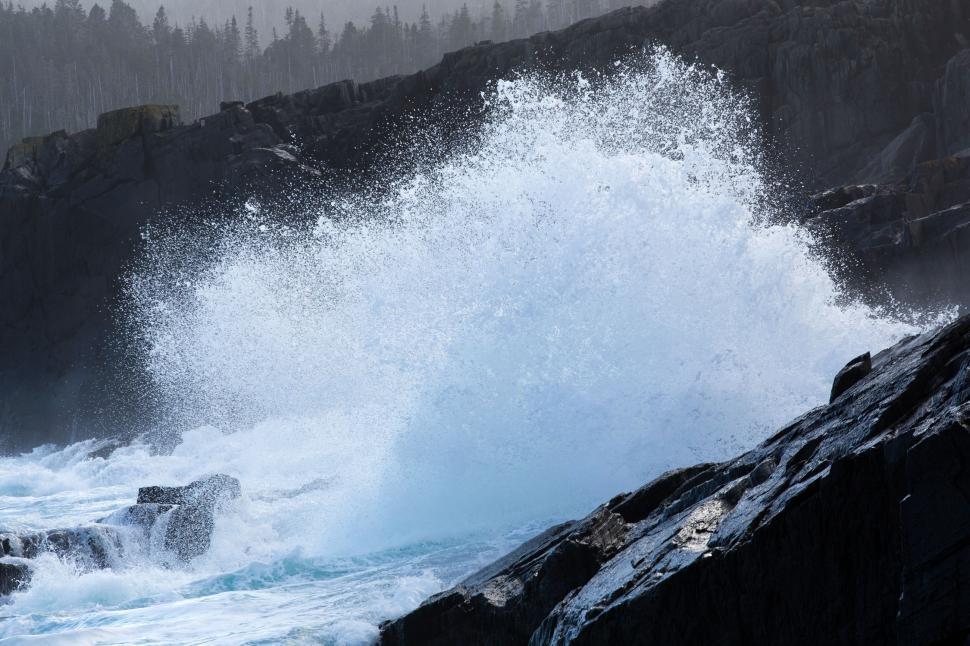 Download Free Stock Photo of Waves crashing on rocks