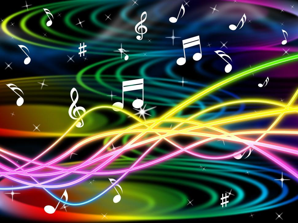 Download Free Stock HD Photo of Color Notes Represents Sheet Music And Clef Online
