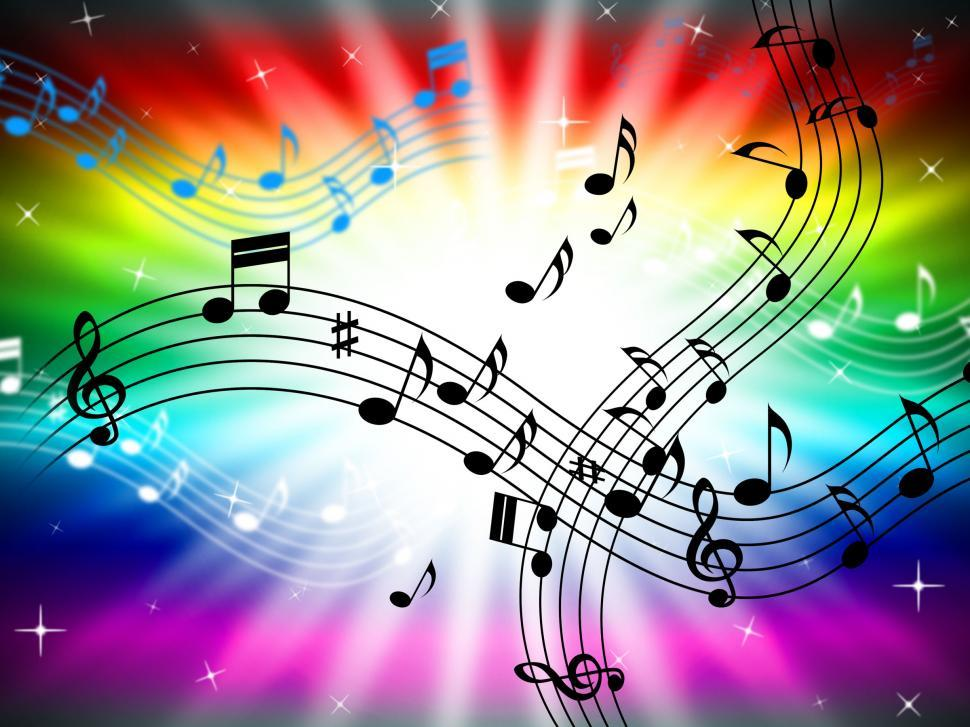 Download Free Stock Photo of Sunrays Color Shows Bass Clef And Audio