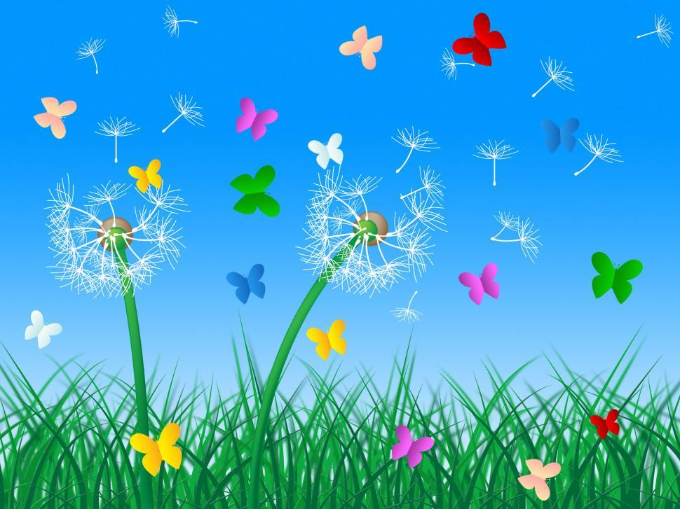 Download Free Stock HD Photo of Butterflies Sky Means Dandelion Hair And Butterfly Online