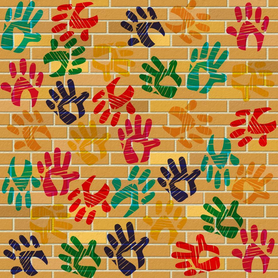 Download Free Stock Photo of Brick Wall Indicates Multicolored Painted And Design