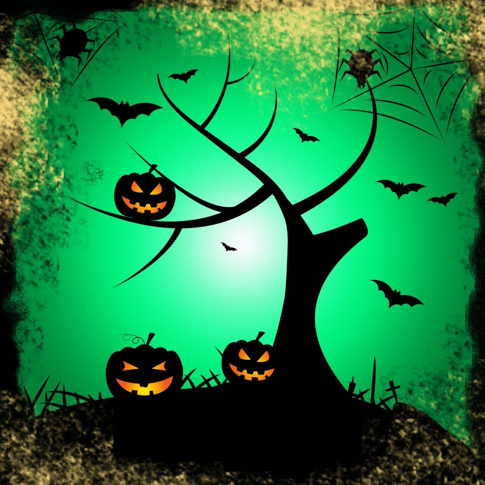 Download Free Stock Photo of Tree Halloween Represents Trick Or Treat And Autumn