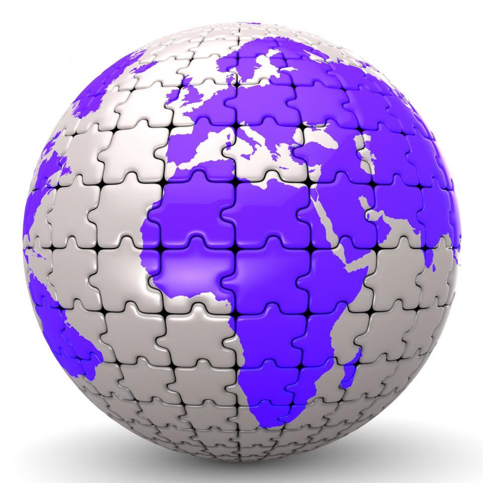Download Free Stock HD Photo of Globe World Means Jigsaw Puzzle And Global Online