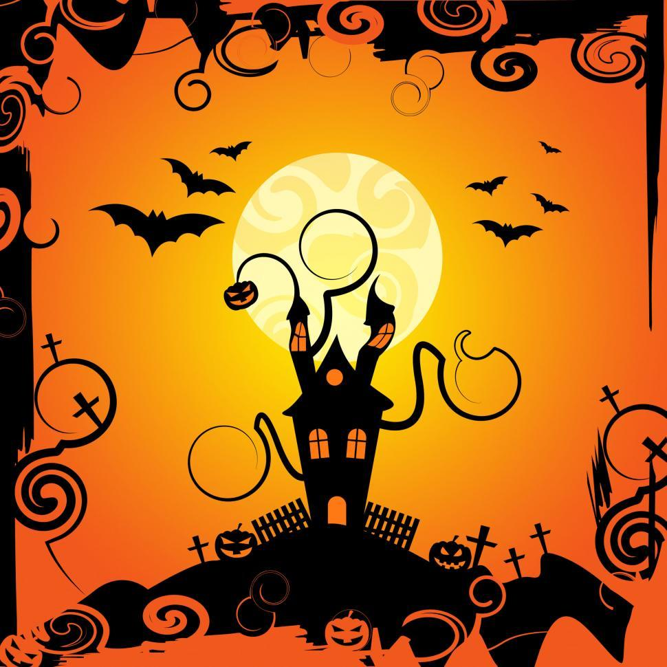 Download Free Stock Photo of Haunted House Shows Trick Or Treat And Bats