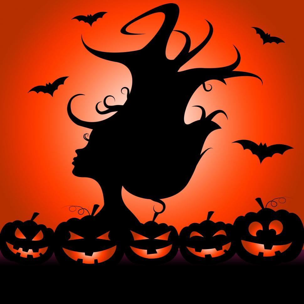 Download Free Stock Photo of Woman Pumpkin Means Trick Or Treat And Bats