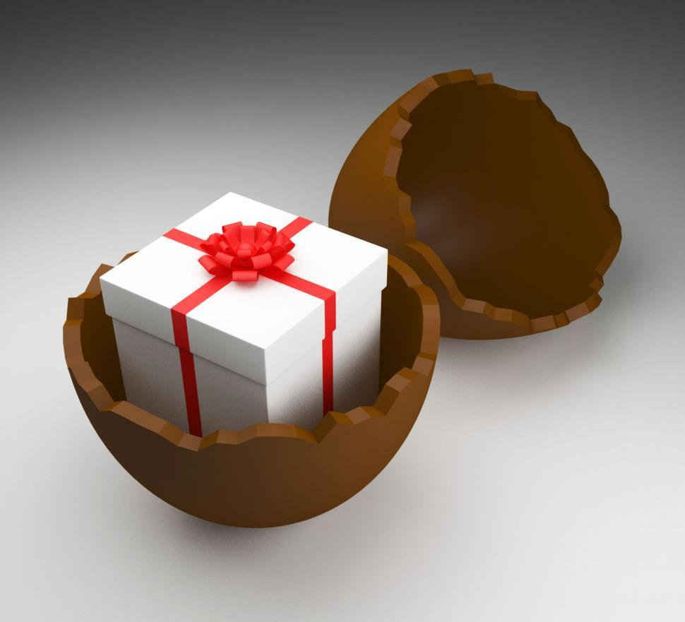 Download Free Stock Photo of Easter Egg Represents Gift Box And Choc