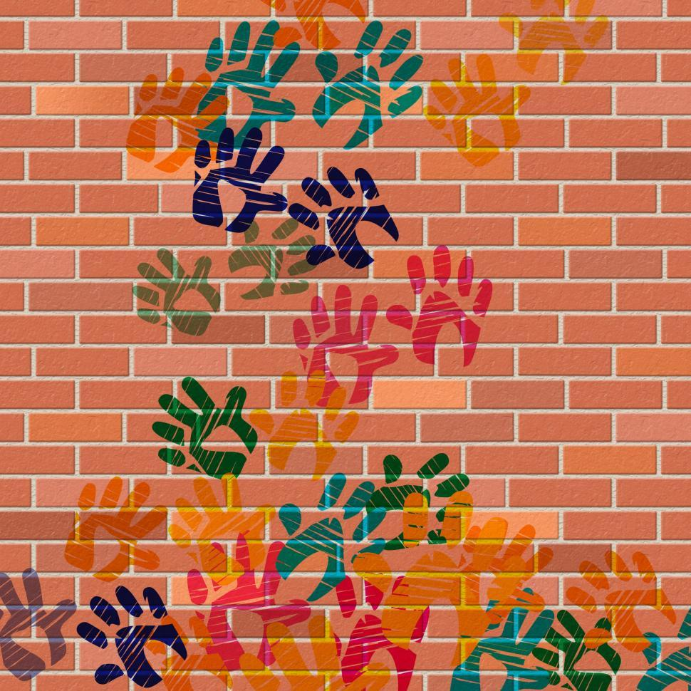 Download Free Stock HD Photo of Wall Handprints Represents Painted Construction And Cement Online