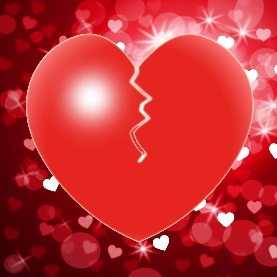 Download Free Stock Photo of Broken Heart Shows Valentines Day And Break