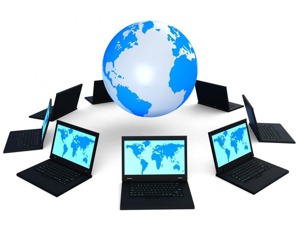 Download Free Stock Photo of Global Network Indicates Digital Globe And Internet