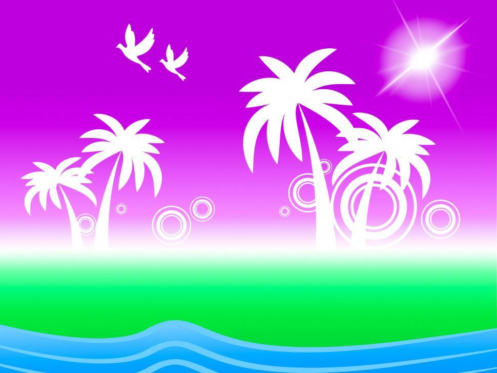 Download Free Stock Photo of Tropical Island Represents Flock Of Birds And Beach