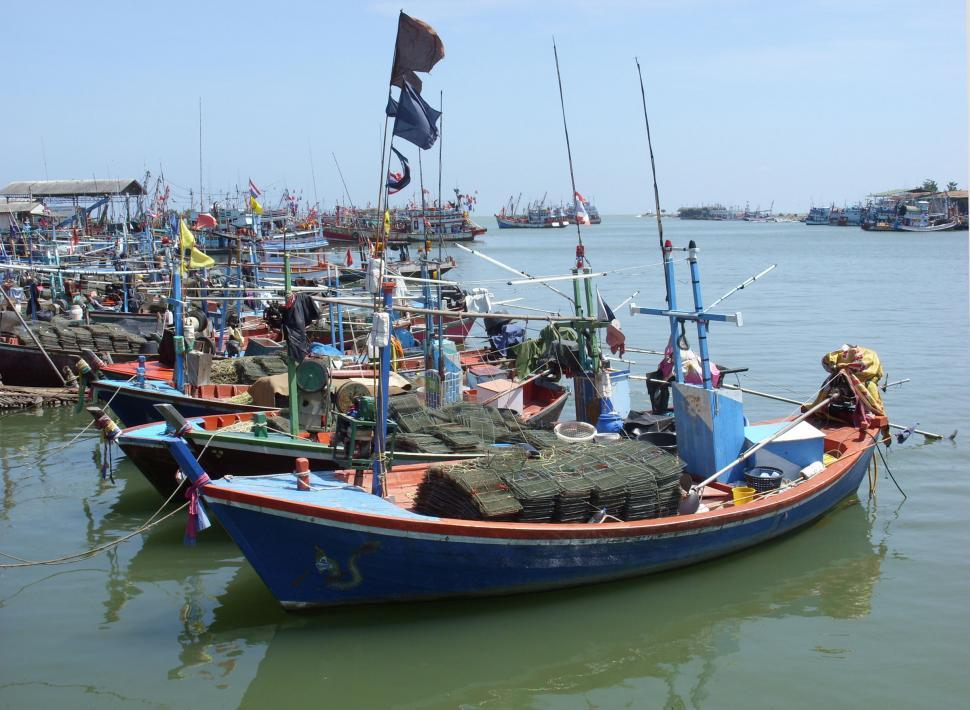 Download Free Stock Photo of Small, Thai fishing boats