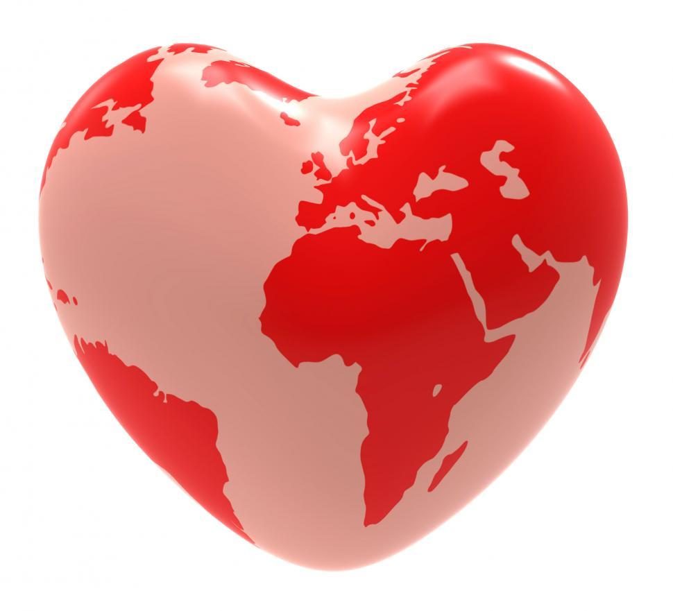 Download Free Stock HD Photo of Heart Globe Indicates Valentine Day And Affection Online