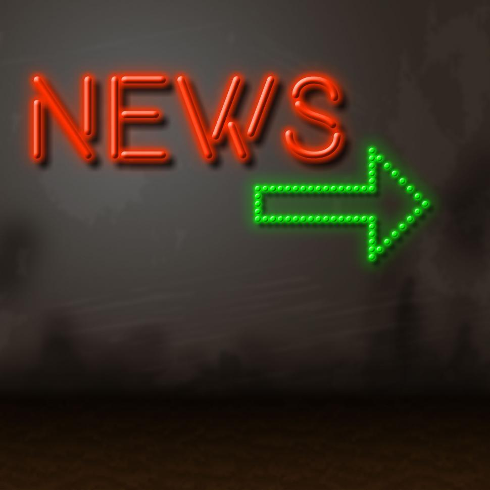 Download Free Stock HD Photo of Neon News Indicates Glow Bright And Information Online
