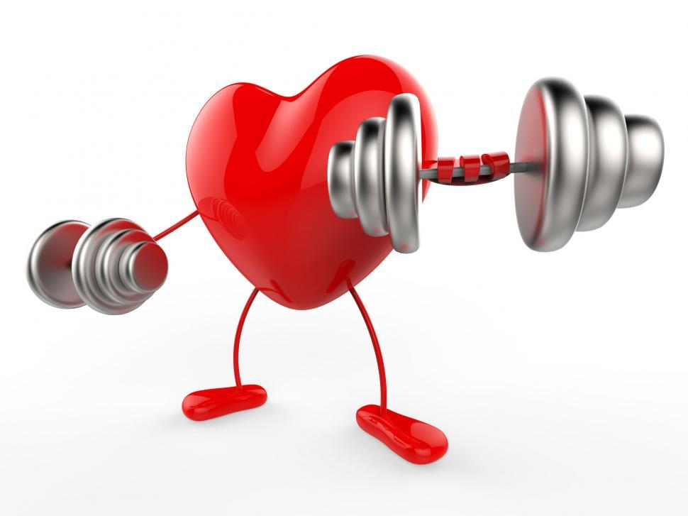Download Free Stock Photo of Weights Heart Shows Working Out And Active