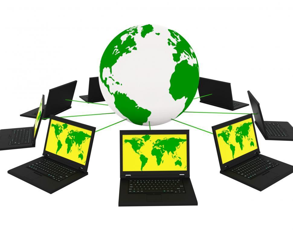 Download Free Stock HD Photo of Global Network Means Networking Monitor And Planet Online