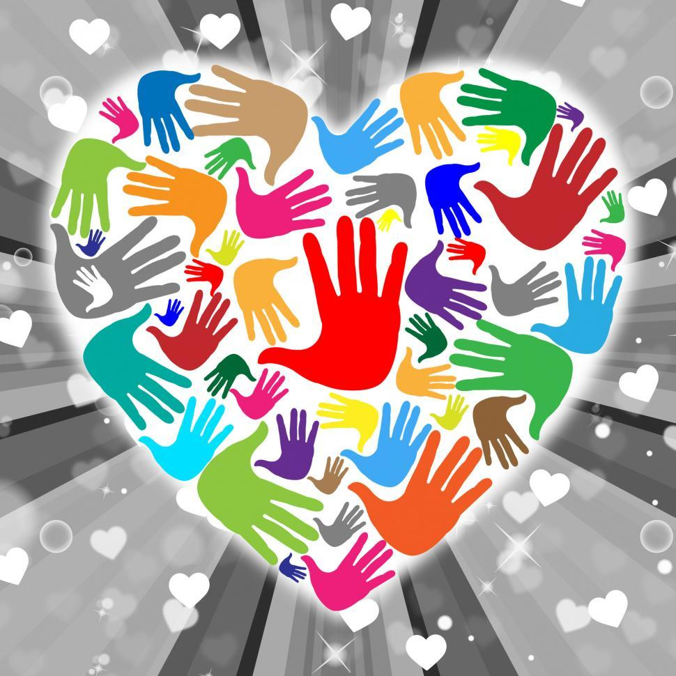 Download Free Stock HD Photo of Handprints Heart Indicates Valentines Day And Childhood Online