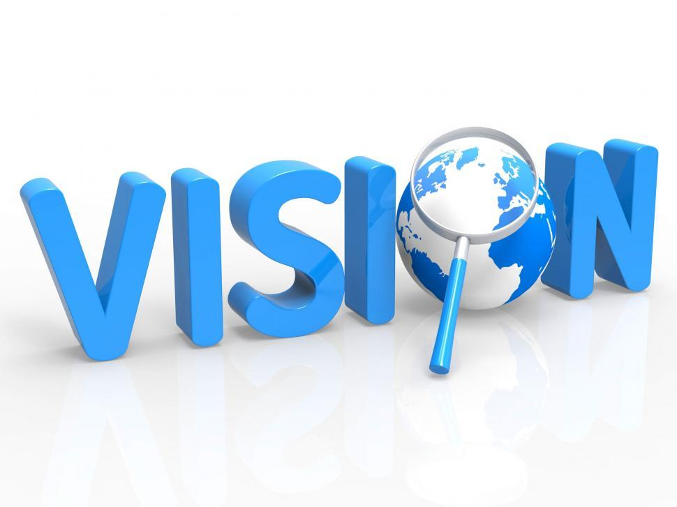 Download Free Stock Photo of Magnifier Vision Shows Missions Plan And Target