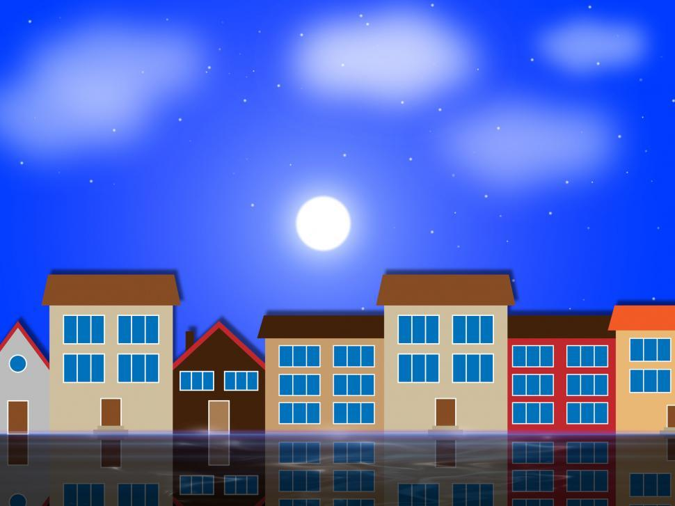 Download Free Stock Photo of Moon Houses Shows Night Time And Apartment