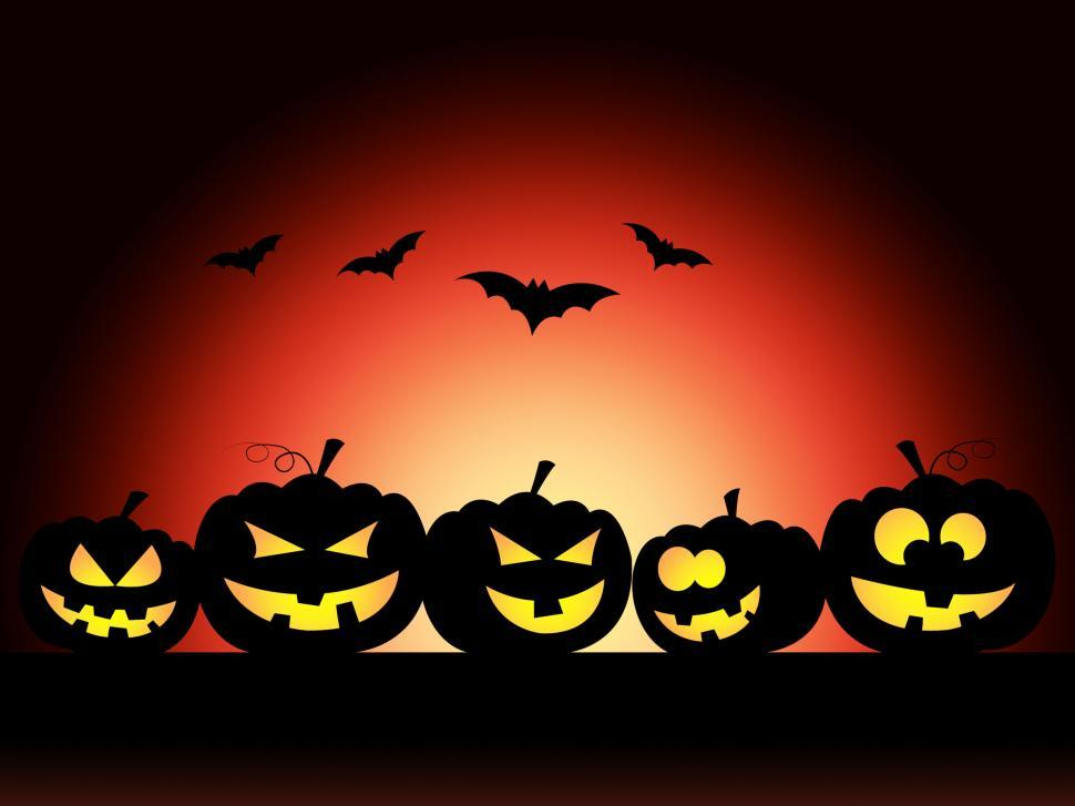 Download Free Stock Photo of Bats Halloween Means Trick Or Treat And Pumpkin