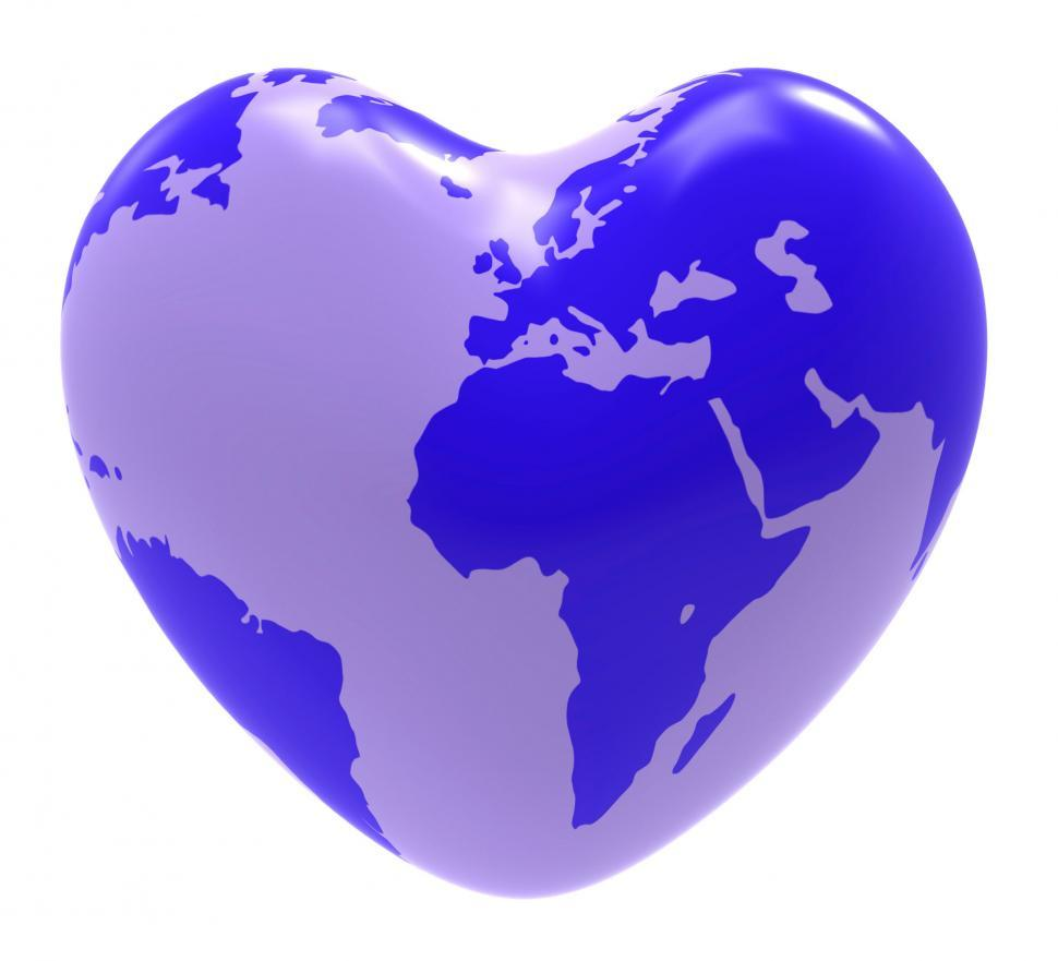 Download Free Stock HD Photo of Globe Heart Indicates Valentine Day And Globalisation Online