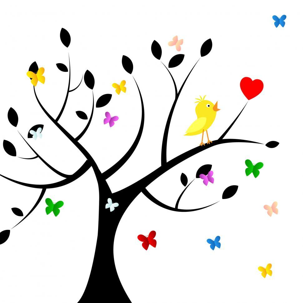 Download Free Stock HD Photo of Birds Tree Indicates Heart Shape And Environment Online