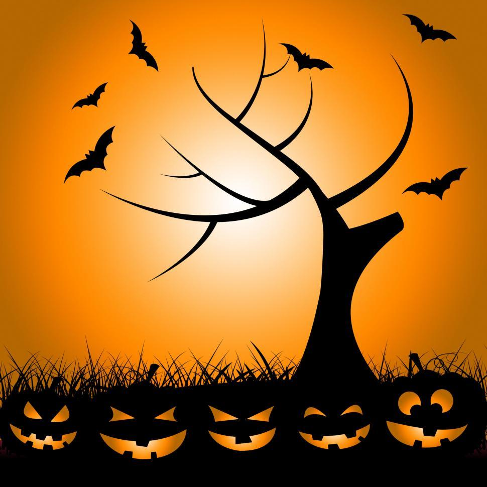 Download Free Stock Photo of Bats Tree Means Trick Or Treat And Autumn