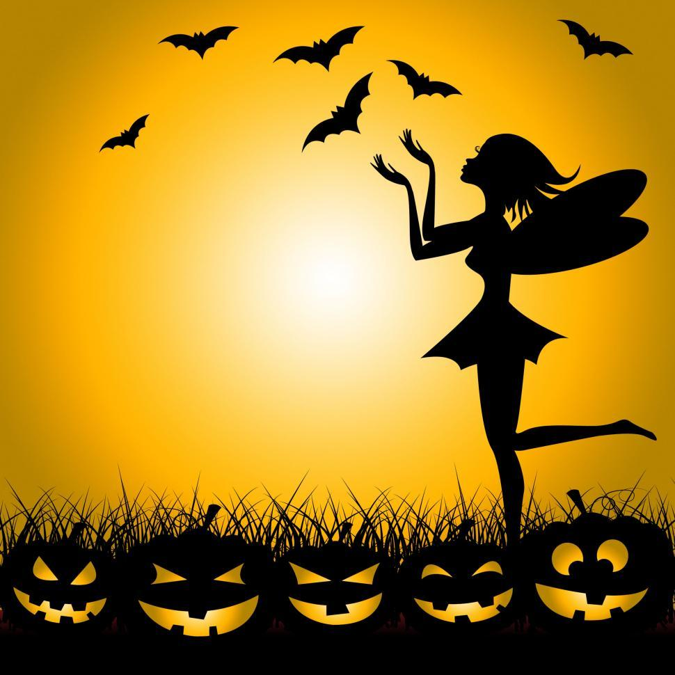 Download Free Stock Photo of Halloween Fairy Shows Trick Or Treat And Bats