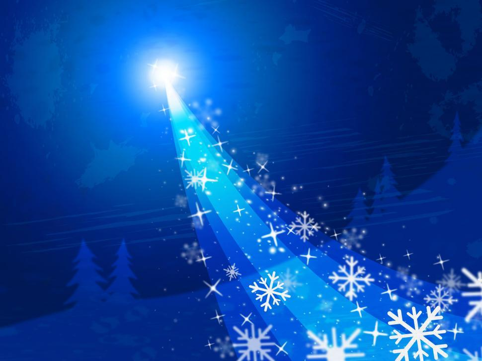 Download Free Stock HD Photo of Star Blue Represents Merry Christmas And Bright Online