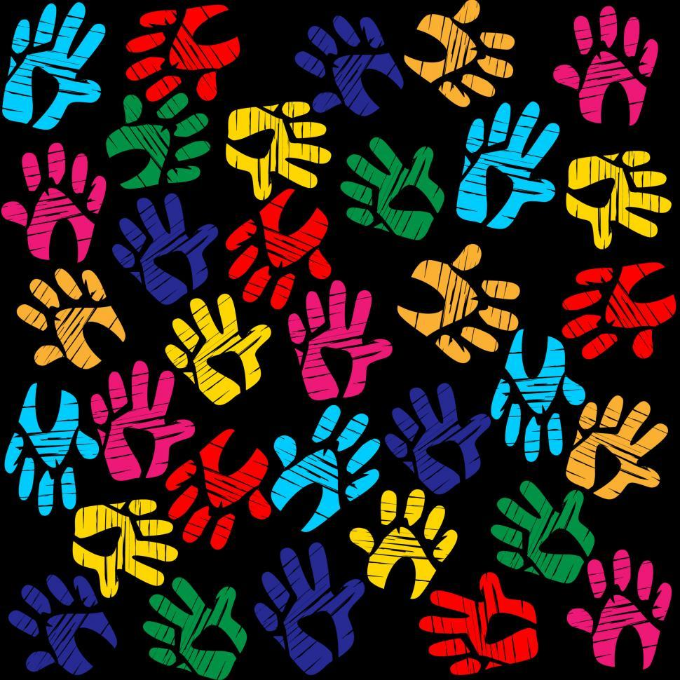 Download Free Stock Photo of Handprints Colourful Means Background Vibrant And Watercolor