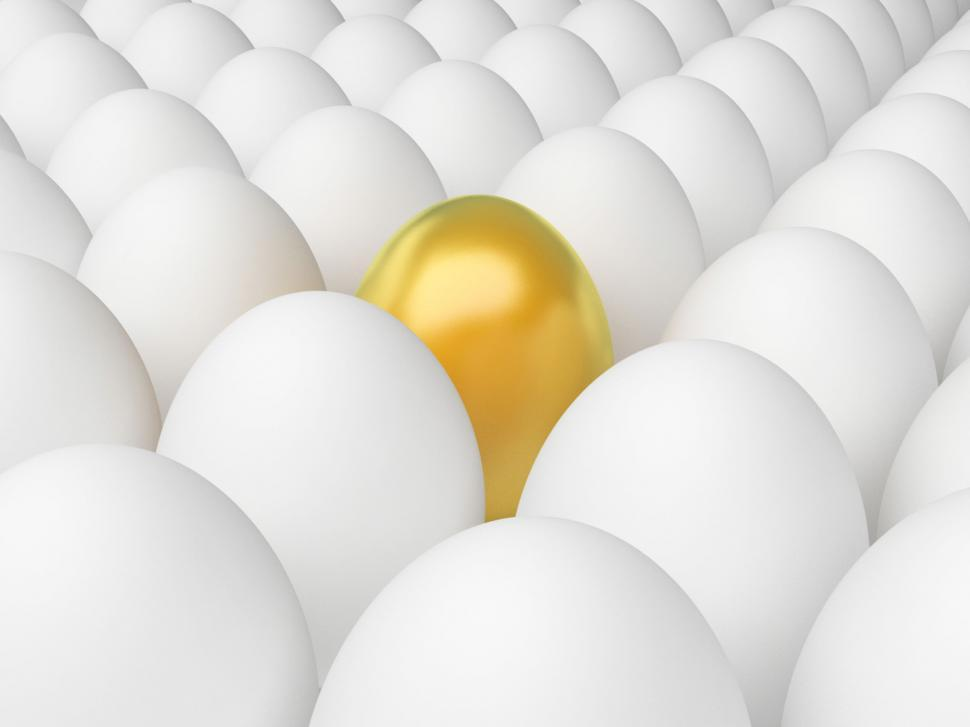 Download Free Stock Photo of Golden Egg Indicates Odd One Out And Alone