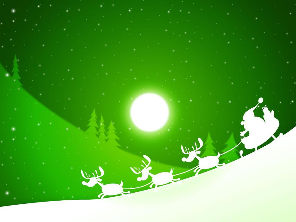 Download Free Stock Photo of Moon Santa Indicates Merry Xmas And Celebrate