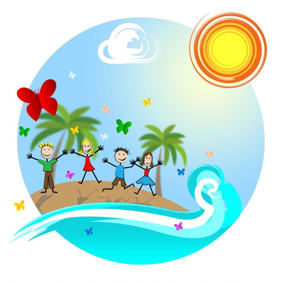 Download Free Stock Photo of Tropical Island Means Go On Leave And Kids